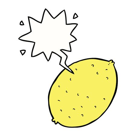 cartoon lemon with speech bubble Stok Fotoğraf - 129368556