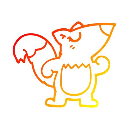 warm gradient line drawing of a cartoon confident squirrel