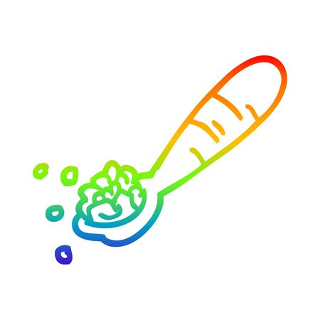 rainbow gradient line drawing of a cartoon spoon of cereal