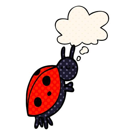 cartoon ladybug with thought bubble in comic book style Ilustracja