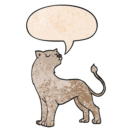 cartoon lioness with speech bubble in retro texture style