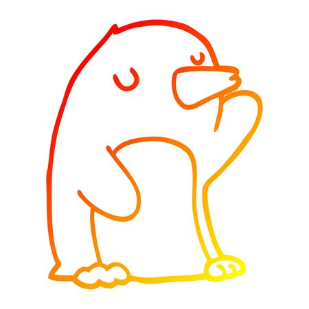 warm gradient line drawing of a cartoon penguin Çizim