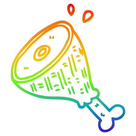rainbow gradient line drawing of a cartoon cooked meat 일러스트