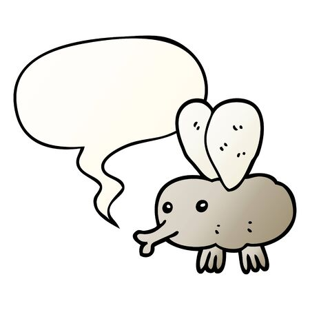 cartoon fly with speech bubble in smooth gradient style Ilustração