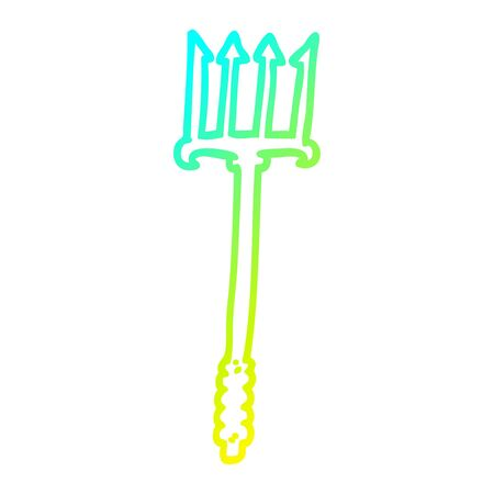 cold gradient line drawing of a cartoon trident Illustration
