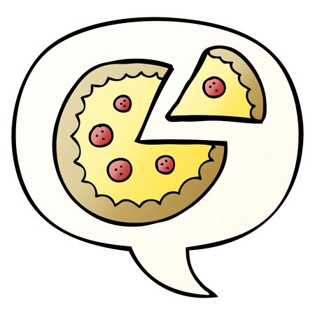 cartoon pizza with speech bubble in smooth gradient style