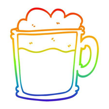 rainbow gradient line drawing of a cartoon foamy latte