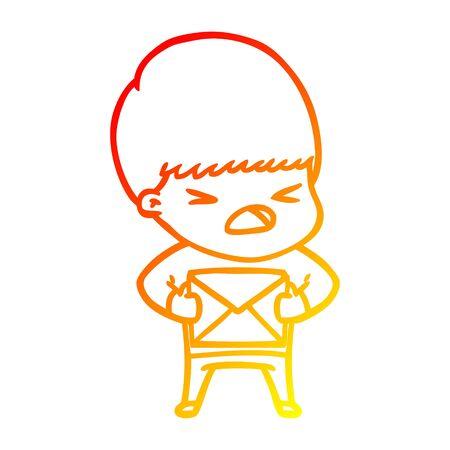 warm gradient line drawing of a cartoon stressed man  イラスト・ベクター素材