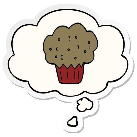 cartoon muffin with thought bubble as a printed sticker Ilustração