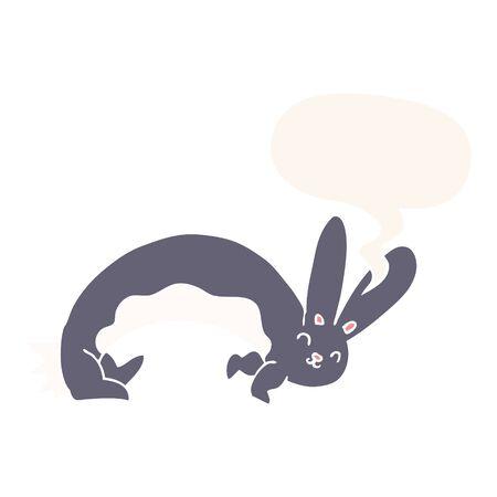 funny cartoon rabbit with speech bubble in retro style Stock Illustratie