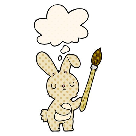 cartoon rabbit with paint brush with thought bubble in comic book style