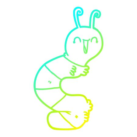 cold gradient line drawing of a cartoon happy caterpillar