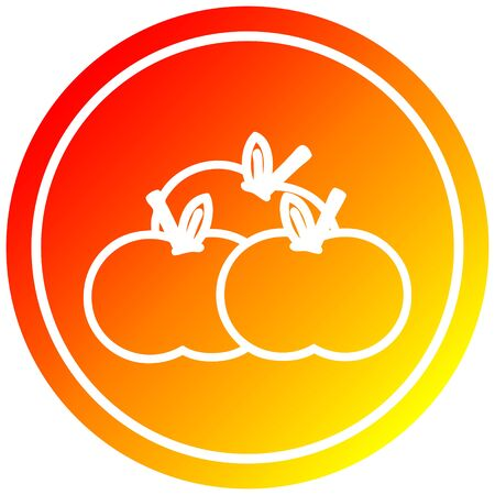 pile of apples circular icon with warm gradient finish