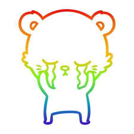 rainbow gradient line drawing of a crying cartoon polarbear Ilustração