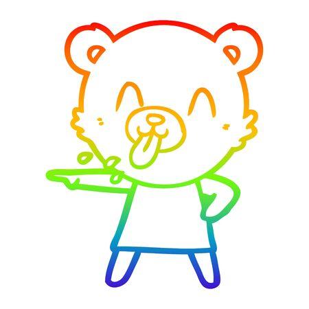 rainbow gradient line drawing of a rude cartoon bear pointing