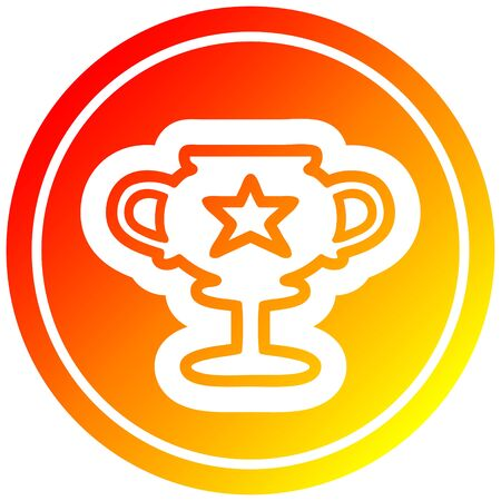 trophy cup circular icon with warm gradient finish Banque d'images - 129369807