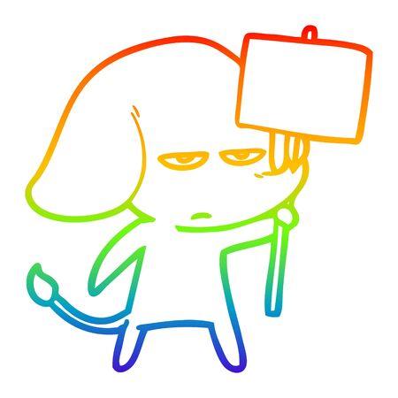 rainbow gradient line drawing of a annoyed cartoon elephant  イラスト・ベクター素材