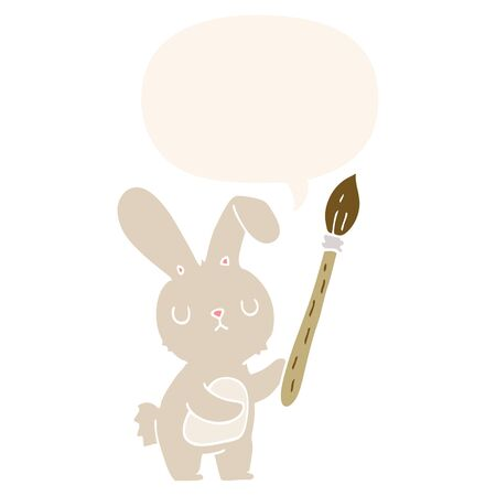 cartoon rabbit with paint brush with speech bubble in retro style