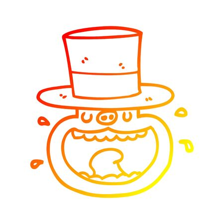 warm gradient line drawing of a cartoon pig wearing top hat  イラスト・ベクター素材