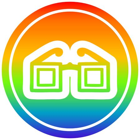 square glasses circular icon with rainbow gradient finish