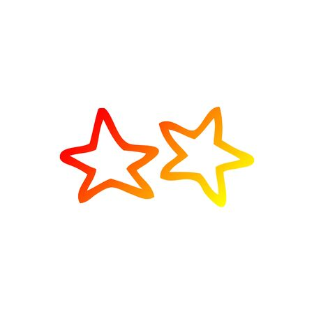 warm gradient line drawing of a cartoon stars