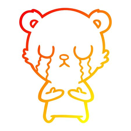 warm gradient line drawing of a crying cartoon bear