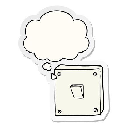 cartoon light switch with thought bubble as a printed sticker Ilustração