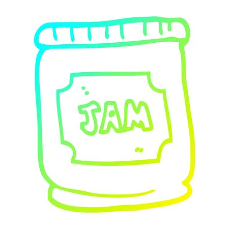 cold gradient line drawing of a cartoon jam pot