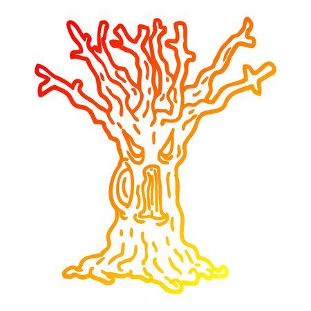 warm gradient line drawing of a cartoon spooky tree