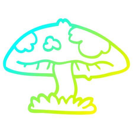 cold gradient line drawing of a cartoon mushroom  イラスト・ベクター素材