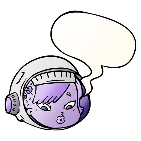 cartoon astronaut face with speech bubble in smooth gradient style