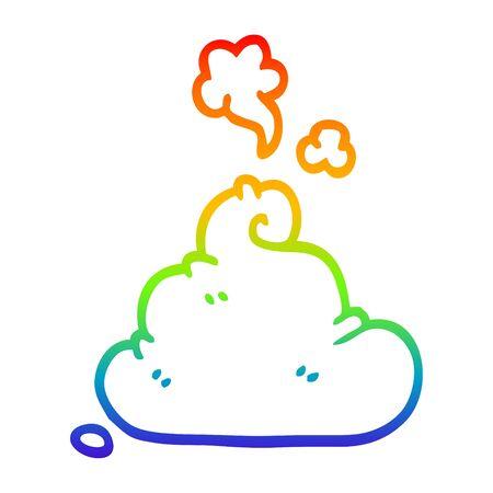 rainbow gradient line drawing of a cartoon poop