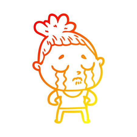 warm gradient line drawing of a cartoon tough woman crying 일러스트