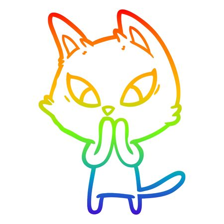 rainbow gradient line drawing of a confused cartoon cat