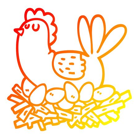 warm gradient line drawing of a cartoon chicken on nest of eggs Foto de archivo - 129369864