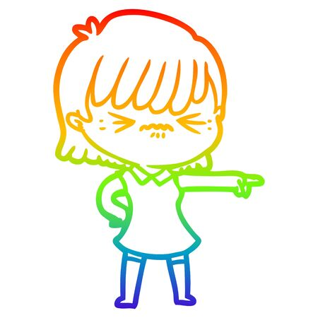 rainbow gradient line drawing of a annoyed cartoon girl blaming