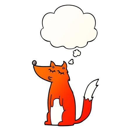 cartoon wolf with thought bubble in smooth gradient style Ilustração