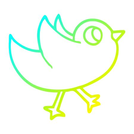 cold gradient line drawing of a cartoon bird flapping wings 일러스트