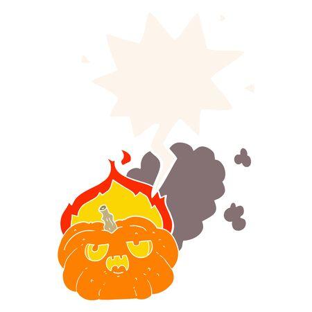 cartoon flaming halloween pumpkin with speech bubble in retro style Illusztráció