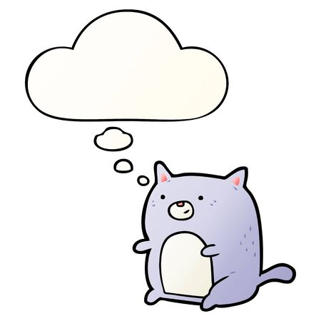 cartoon cat with thought bubble in smooth gradient style