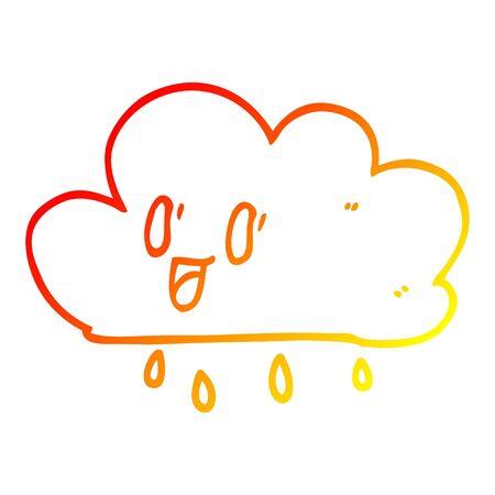 warm gradient line drawing of a cartoon happy grey cloud 일러스트
