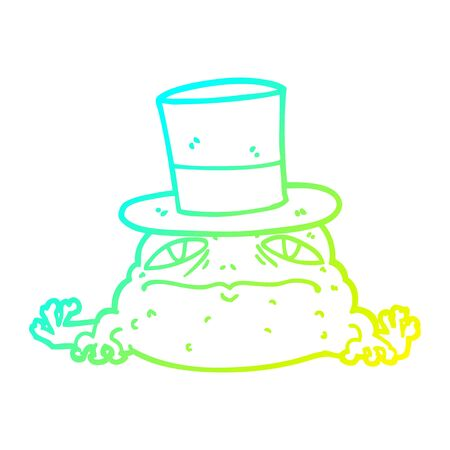 cold gradient line drawing of a cartoon rich toad Ilustração
