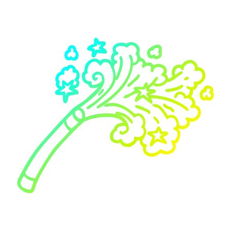 cold gradient line drawing of a cartoon magicians wand