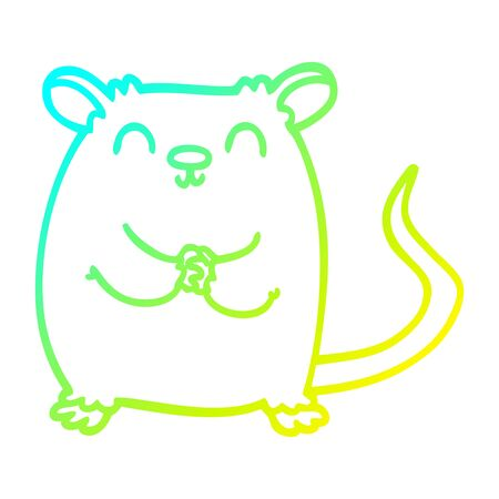 cold gradient line drawing of a cartoon mouse