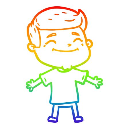 rainbow gradient line drawing of a happy cartoon man with open arms