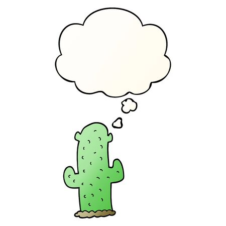 cartoon cactus with thought bubble in smooth gradient style