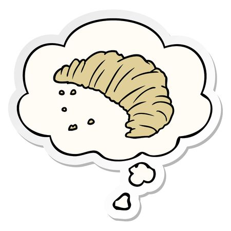 cartoon croissant with thought bubble as a printed sticker 向量圖像