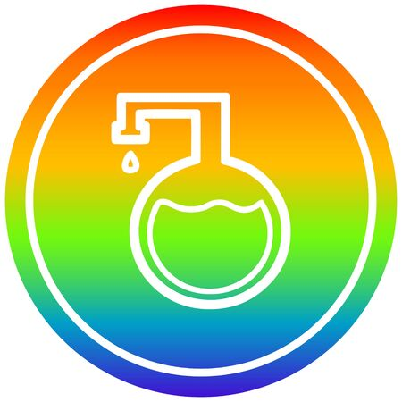 chemical vial circular icon with rainbow gradient finish