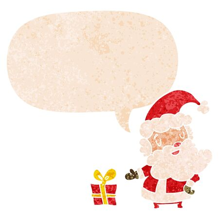 cartoon santa claus with speech bubble in grunge distressed retro textured style Banque d'images - 129370264