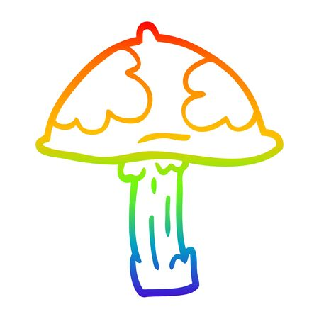 rainbow gradient line drawing of a cartoon wild mushroom